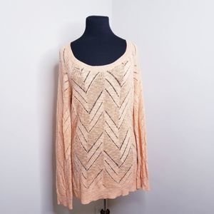 Olive & Oak Size L Peachy Open Knit Sweater